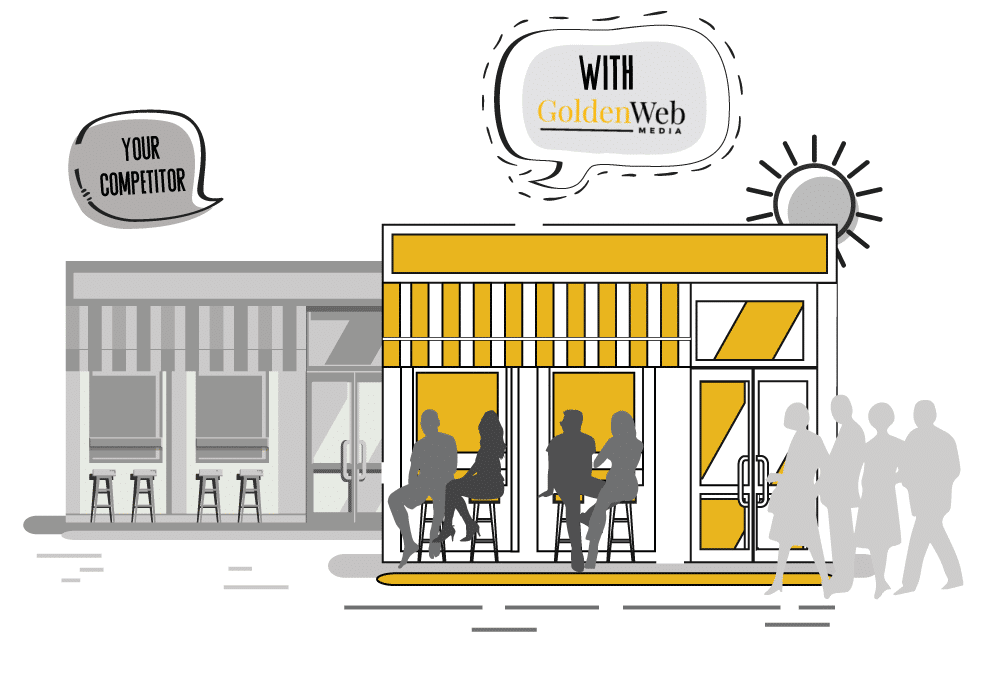 two restaurants and one of them is more busier infographic